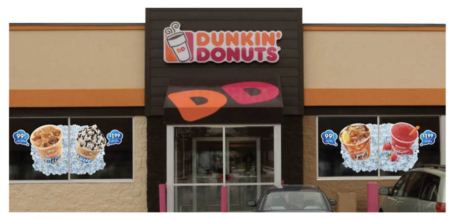 Dunkin' Donuts static window clings