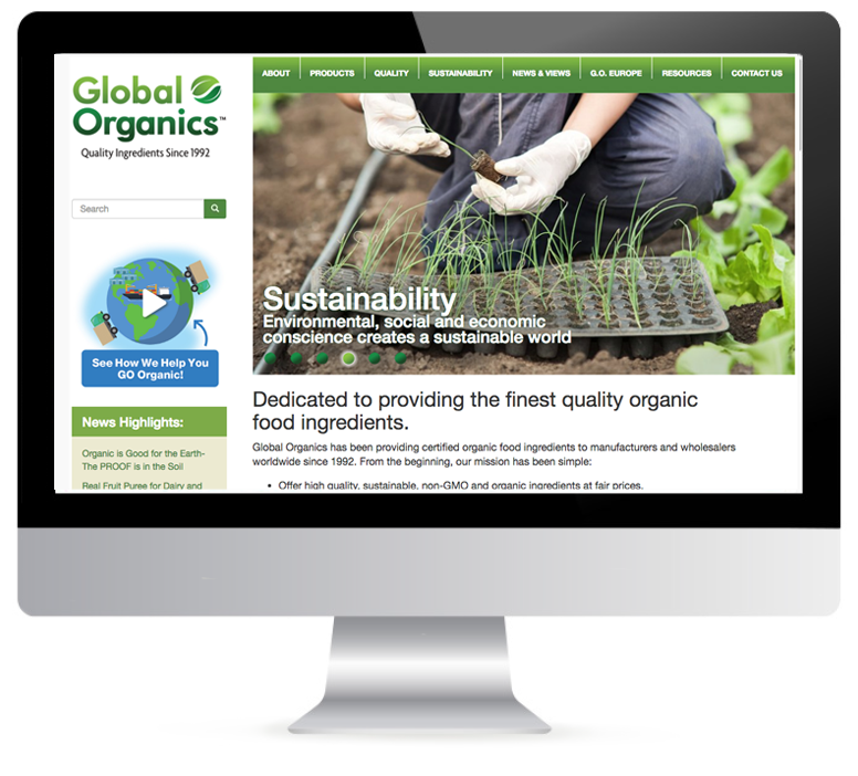Link to the home page for Global Organics website