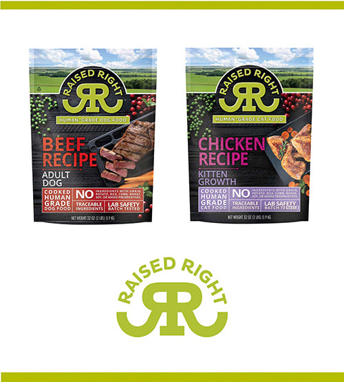 Brand new Raised Right pet food packaging, designed by GoBig Branding.